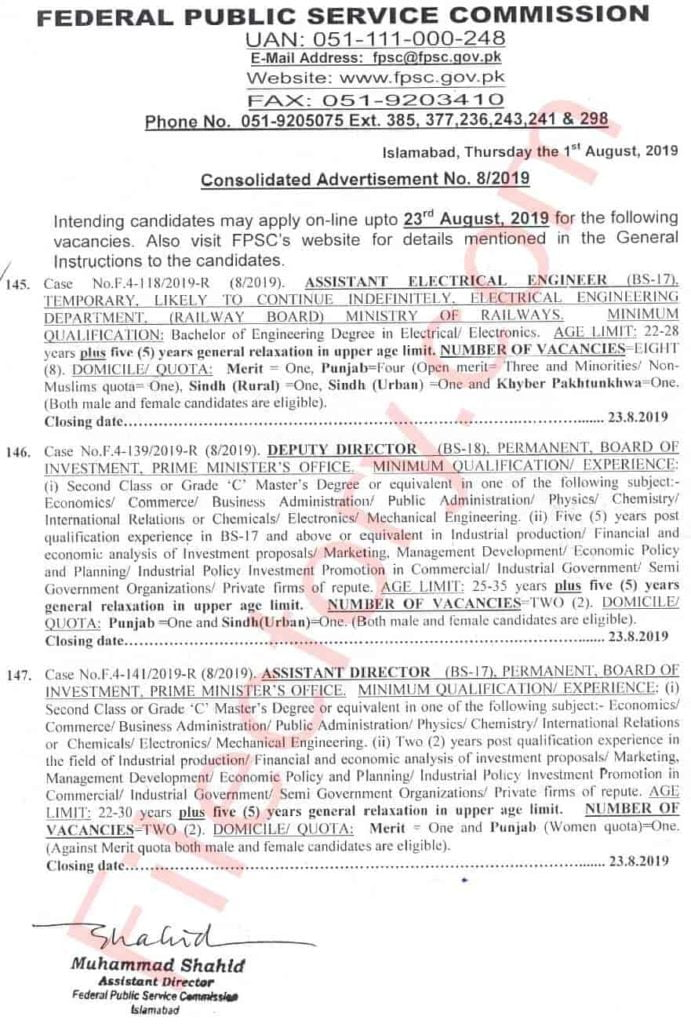 FPSC Jobs Consolidated Advertisement No 8 2019 Apply Online 1