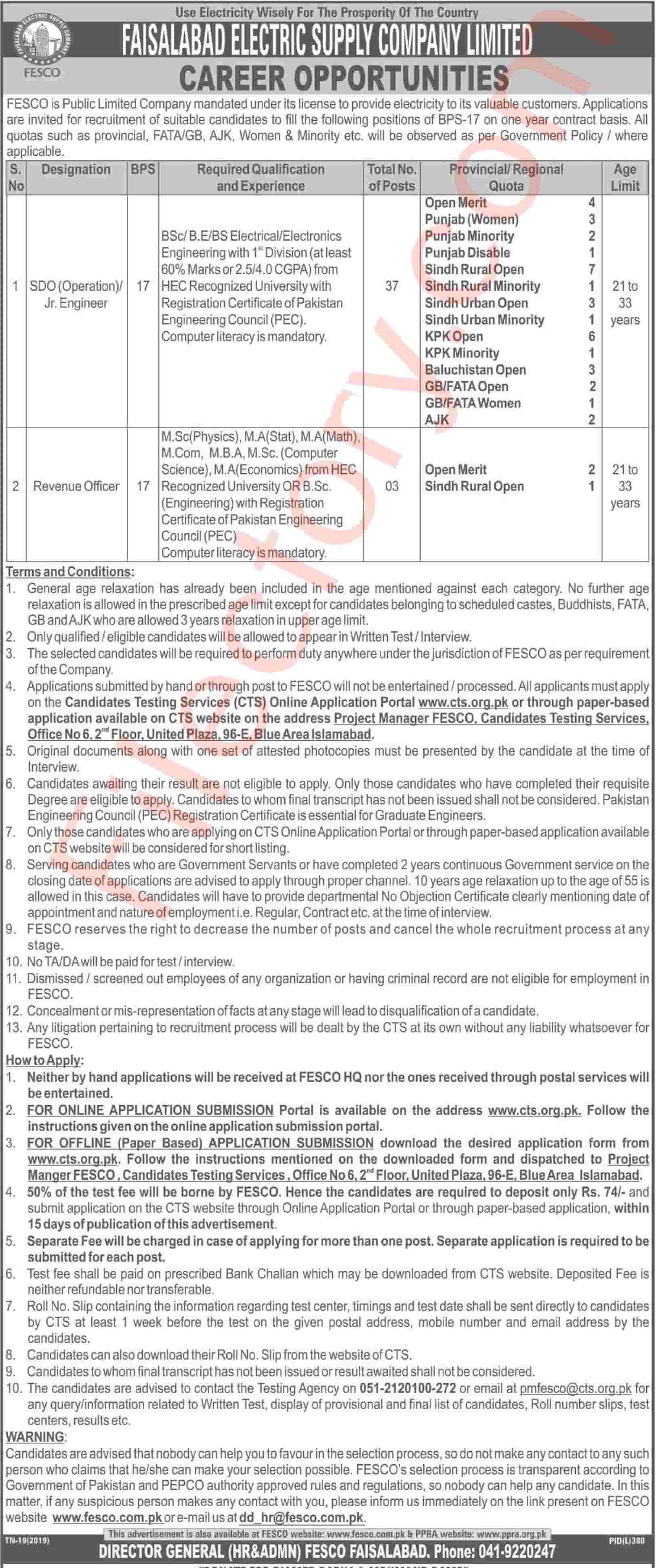 Faisalabad Electric Supply Company FESCO Wapda Jobs 2019 CTS