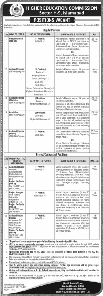 HEC Latest Jobs 2019 Advertisement www.hec.gov.pk Apply Online