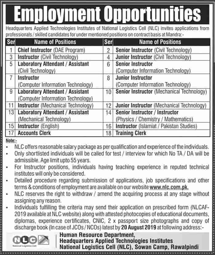 NLC Instructors Laboratory Assistants and Clerks Jobs August 2019
