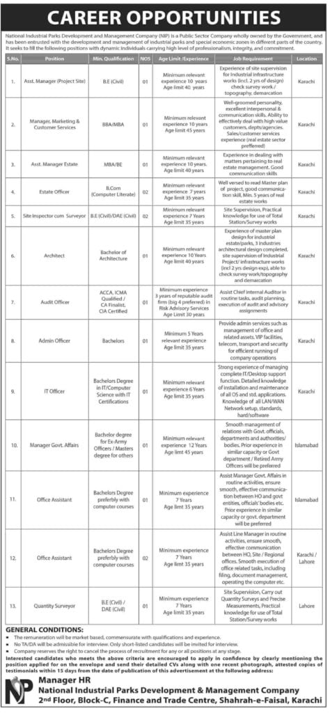 National Industrial Parks Development & Management Company NIP Jobs 2019