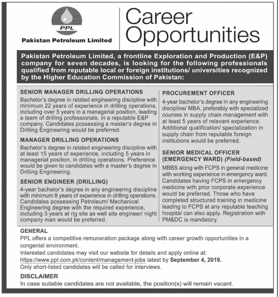 Pakistan Petroleum Limited PPL Latest Jobs Advertisement 2019 Apply Online