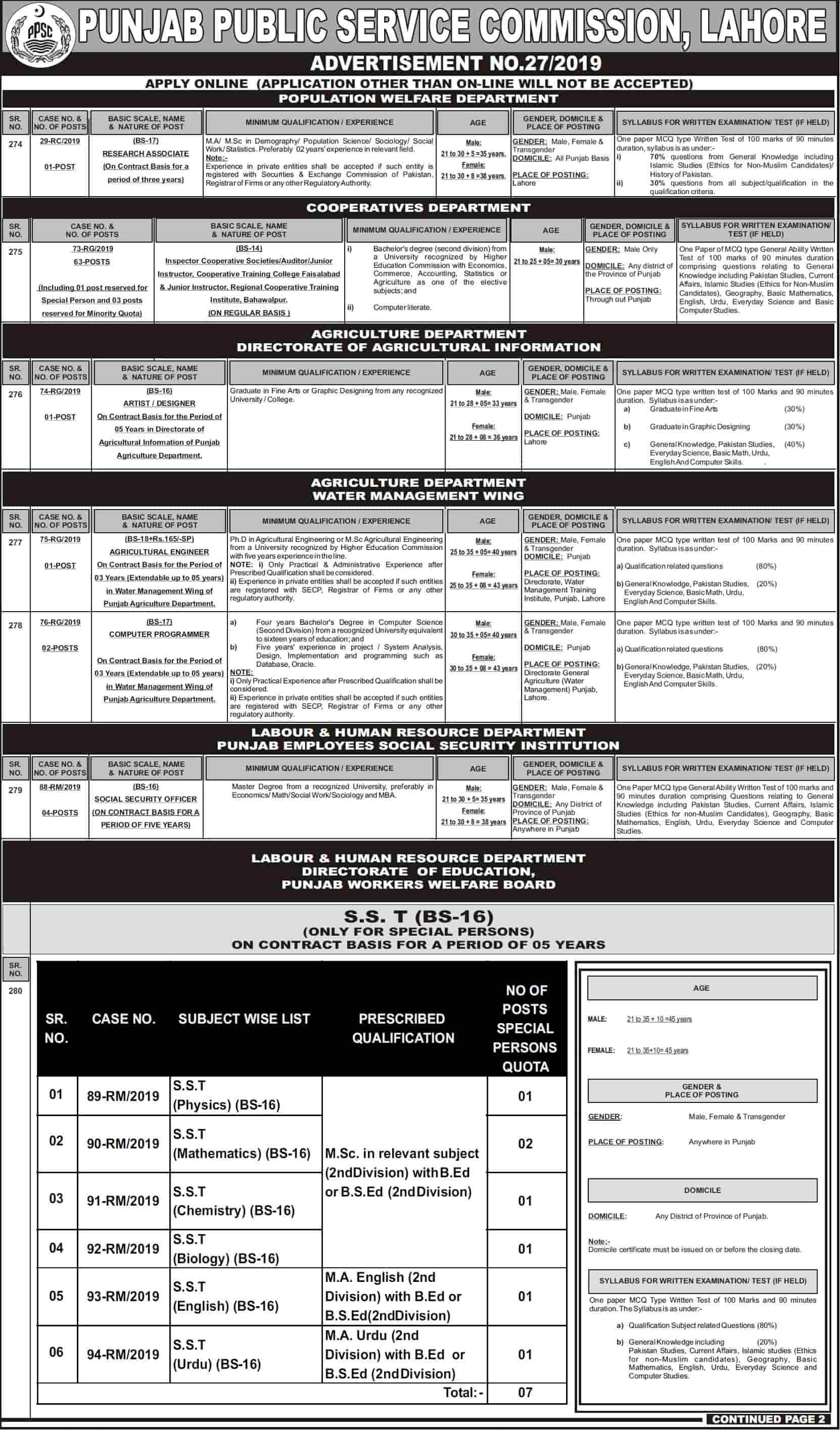 PPSC New Jobs Today Advertisement No 27 2019 Apply Online - Filectory