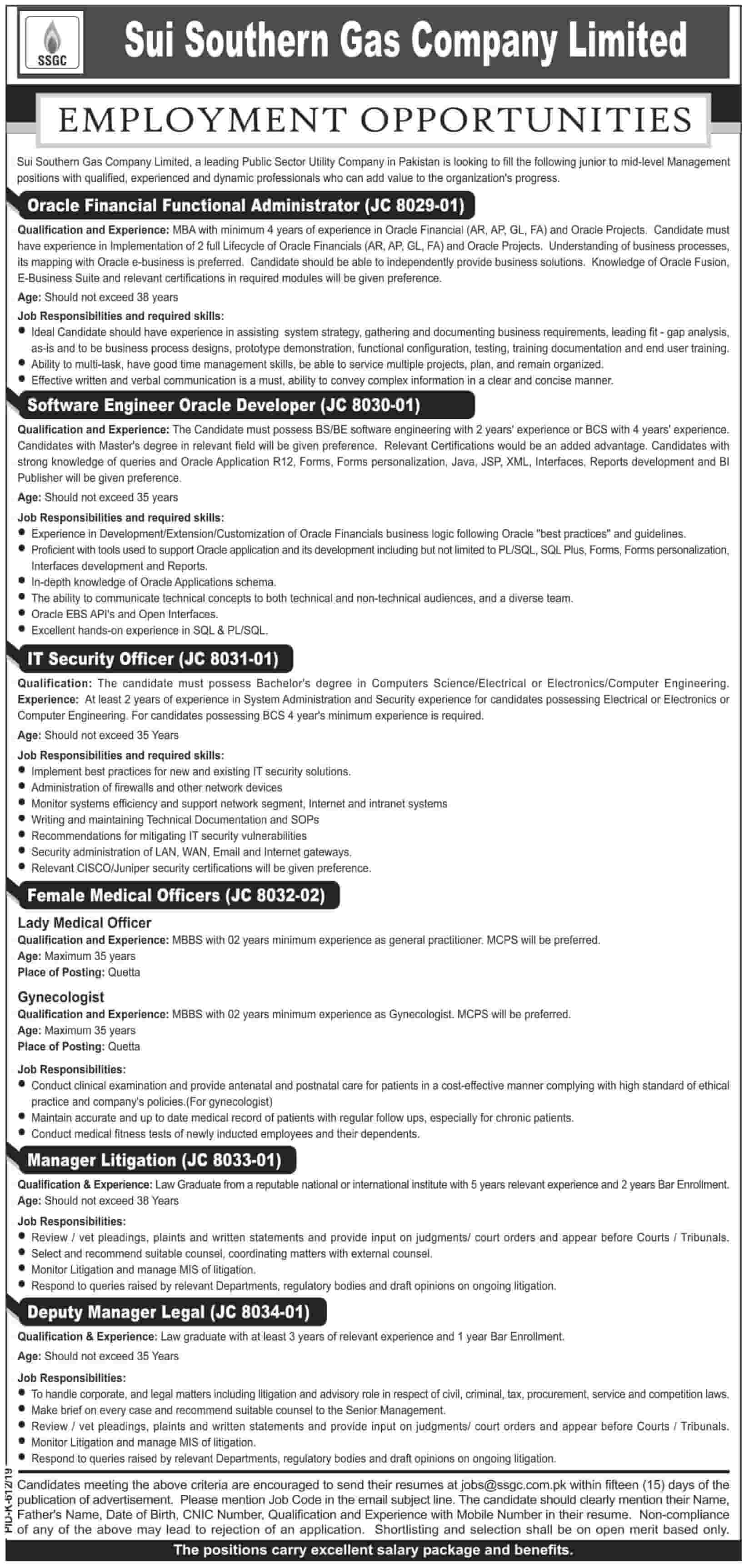 Sui Southern Gas Company Limited SSGC Latest Jobs 2019 Advertisement Apply Online