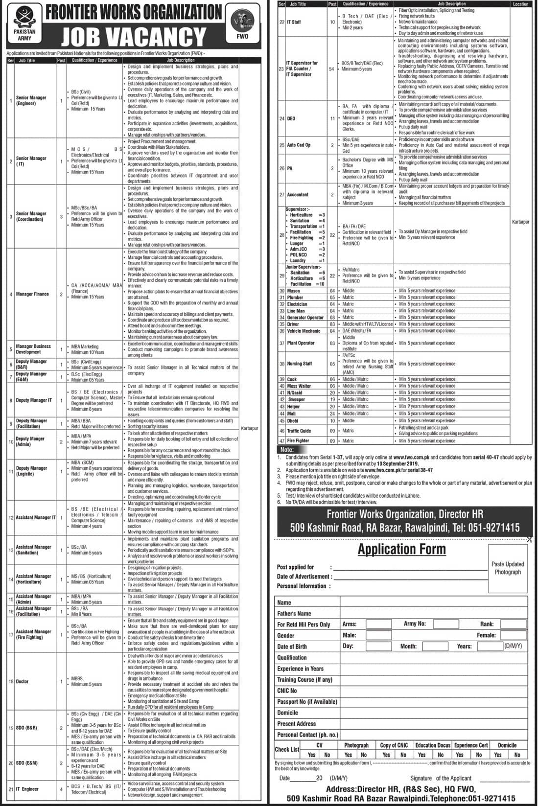 FWO Latest Jobs Advertisement 2019 Apply Online www.fwo.com.pk