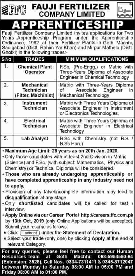 Fauji Fertilizer Company Limited FFC Jobs Apprenticeship Advertisement Apply Online