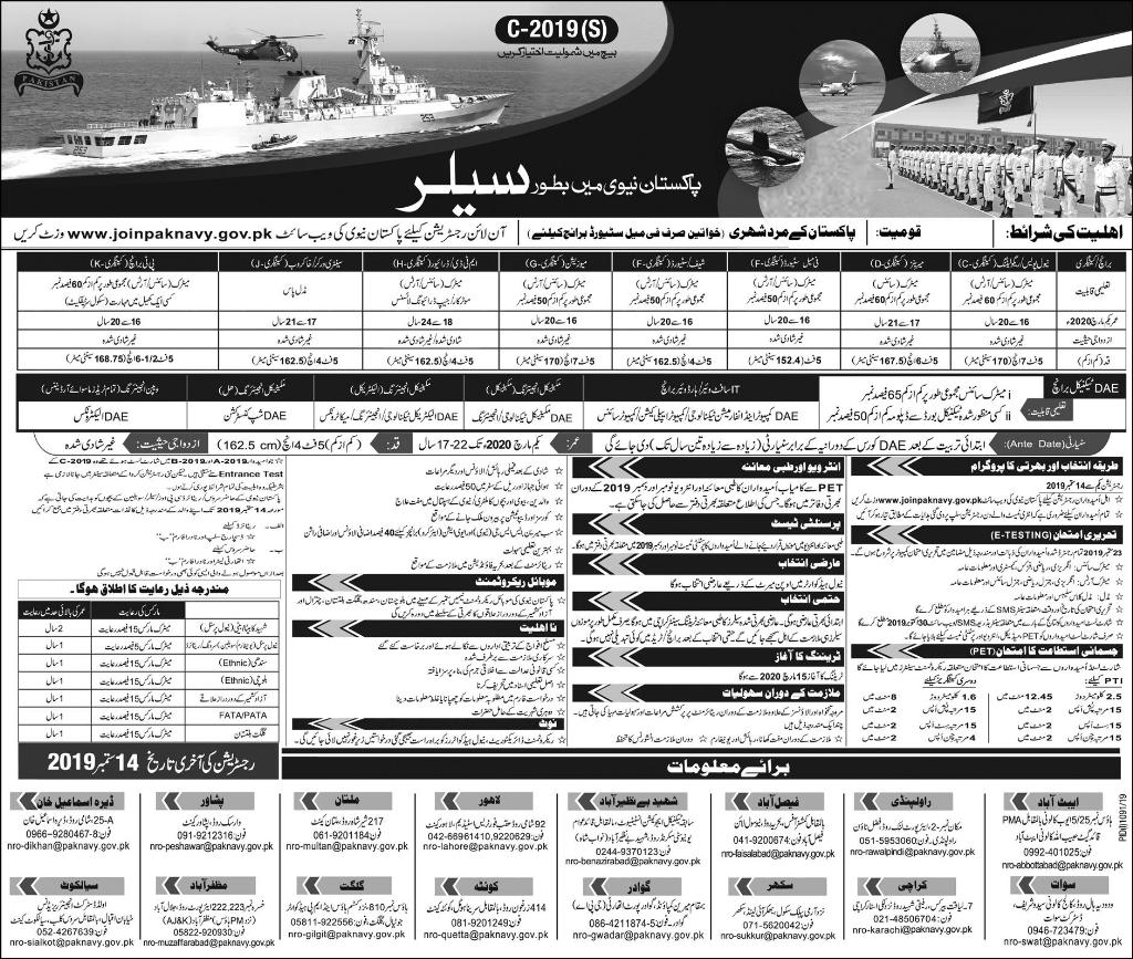 Join Pakistan Navy as Sailor www.joinpaknavy.gov.pk Jobs 2019
