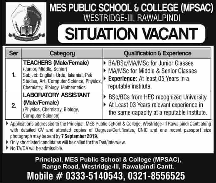 MES Public School & College MPSAC Rawalpindi Teaching Latest Jobs 2019 Advertisement