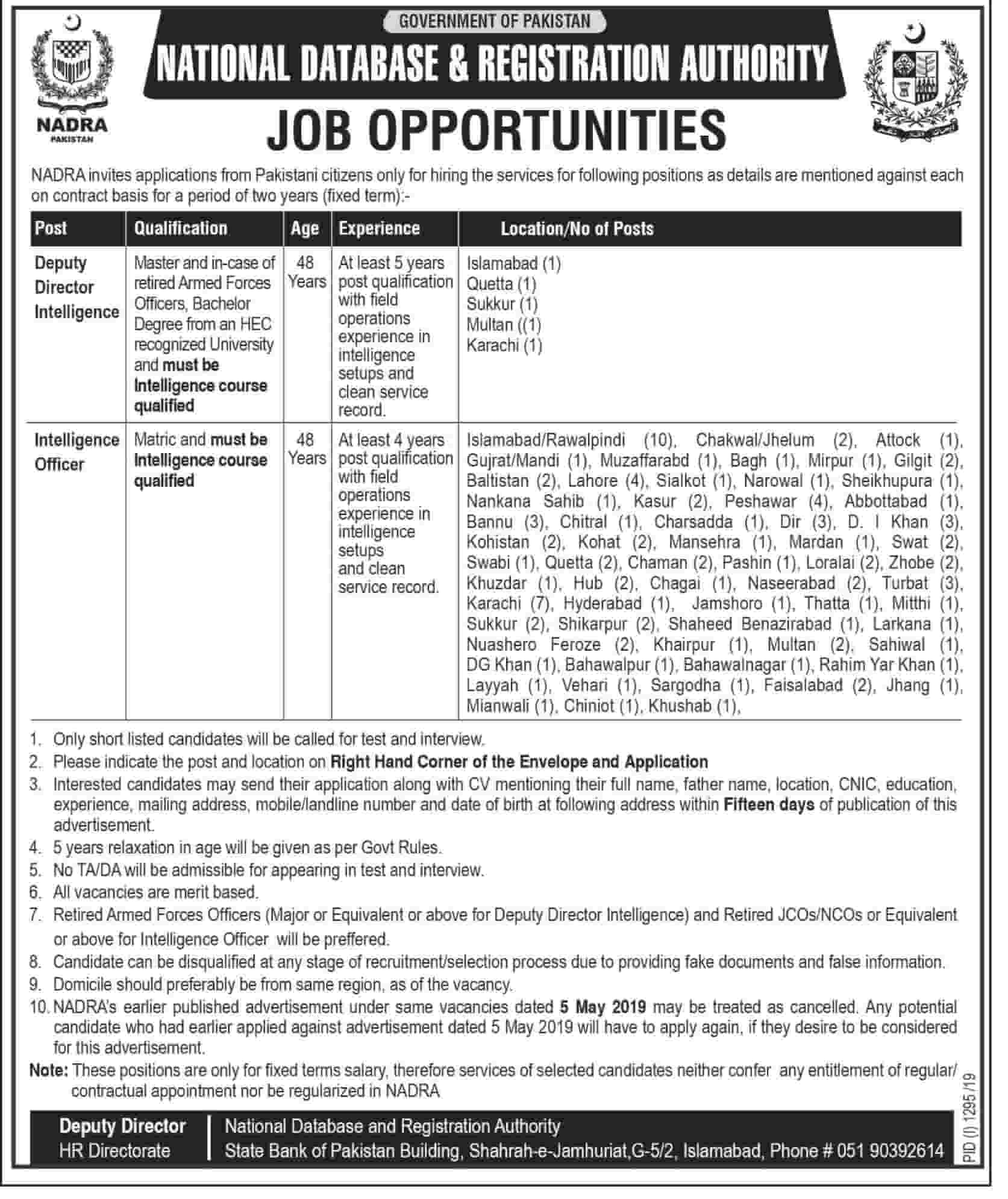 NADRA Latest Intelligence Officers Jobs 2019 Application Form Download