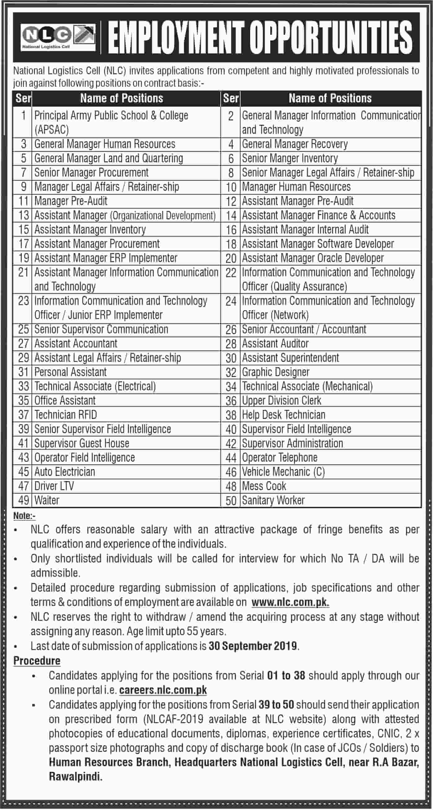 National Logistics Cell NLC Jobs September 2019 Advertisement www.nlc.com.pk Apply Online