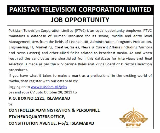 PO Box No 1221 Islamabad Pakistan Television PTV Jobs Advertisement September 2019 www.ptv.com.pk Apply Online