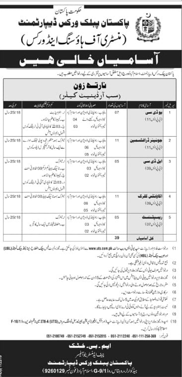 Pakistan Public Works Department PWD Jobs 2019 UTS Subordinate Cadre North zone
