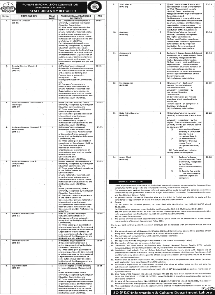 Punjab Information Commission PIC Jobs September 2019 NTS Application Form