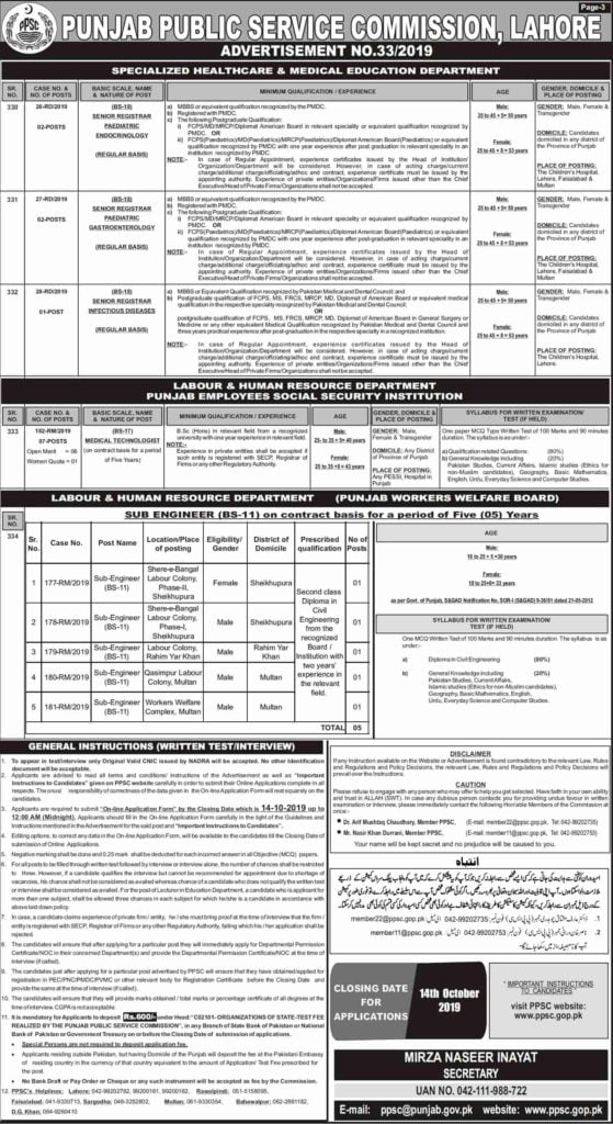 Punjab Public Service Commission PPSC Educator Jobs Advertisement No 33 2019 Apply Online 3