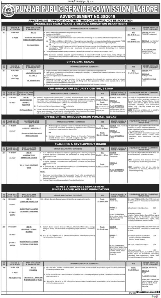 Punjab Public Service Commission PPSC Latest Jobs Advertisement No 30 2019 Apply Online 1