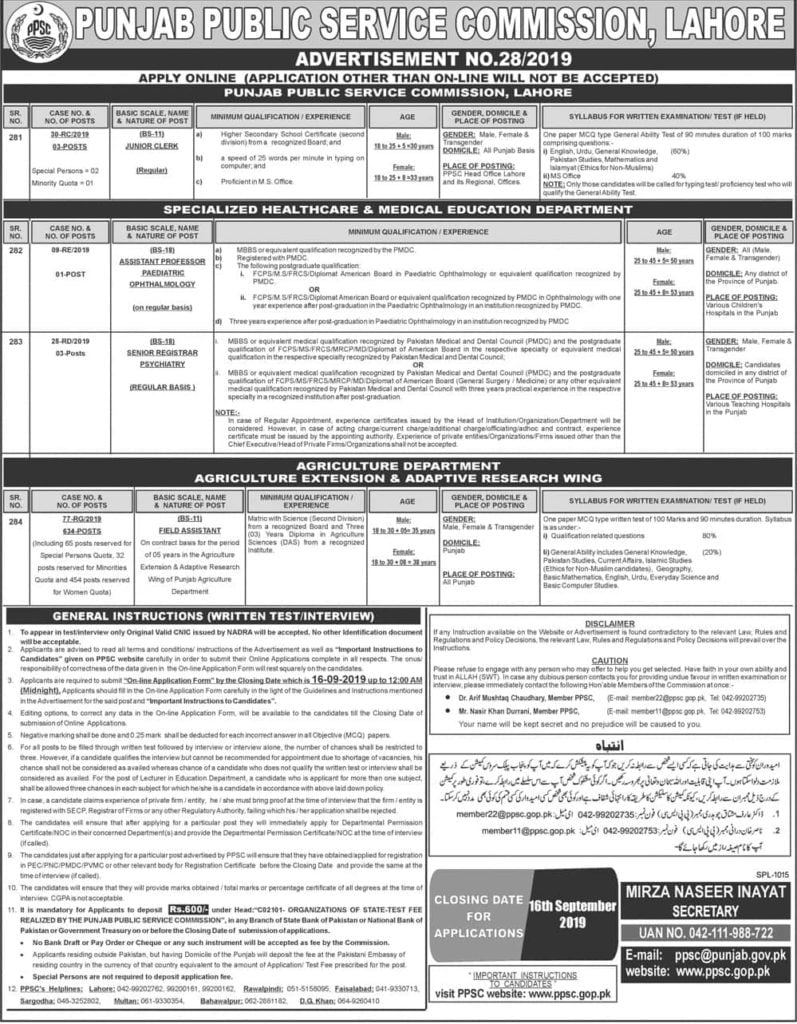 Punjab Public Service Commission PPSC New Jobs Today Advertisement No 28 2019 Apply Online