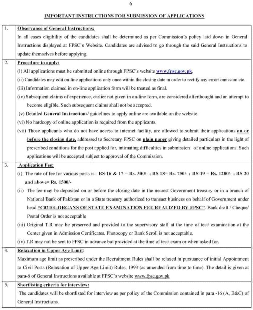 Important Instructions for Submission of Application