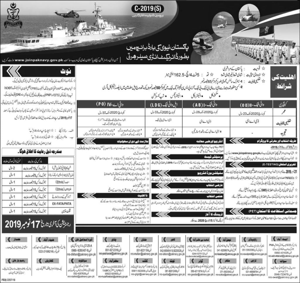 Join Pakistan Navy Jobs 2019 as Sailor Direct Entry Yard Branch C-2019(S) Latest Advertisement Online Registration