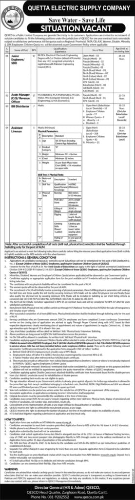 Quetta Electric Supply Company QESCO Wapda Jobs October 2019 NTS