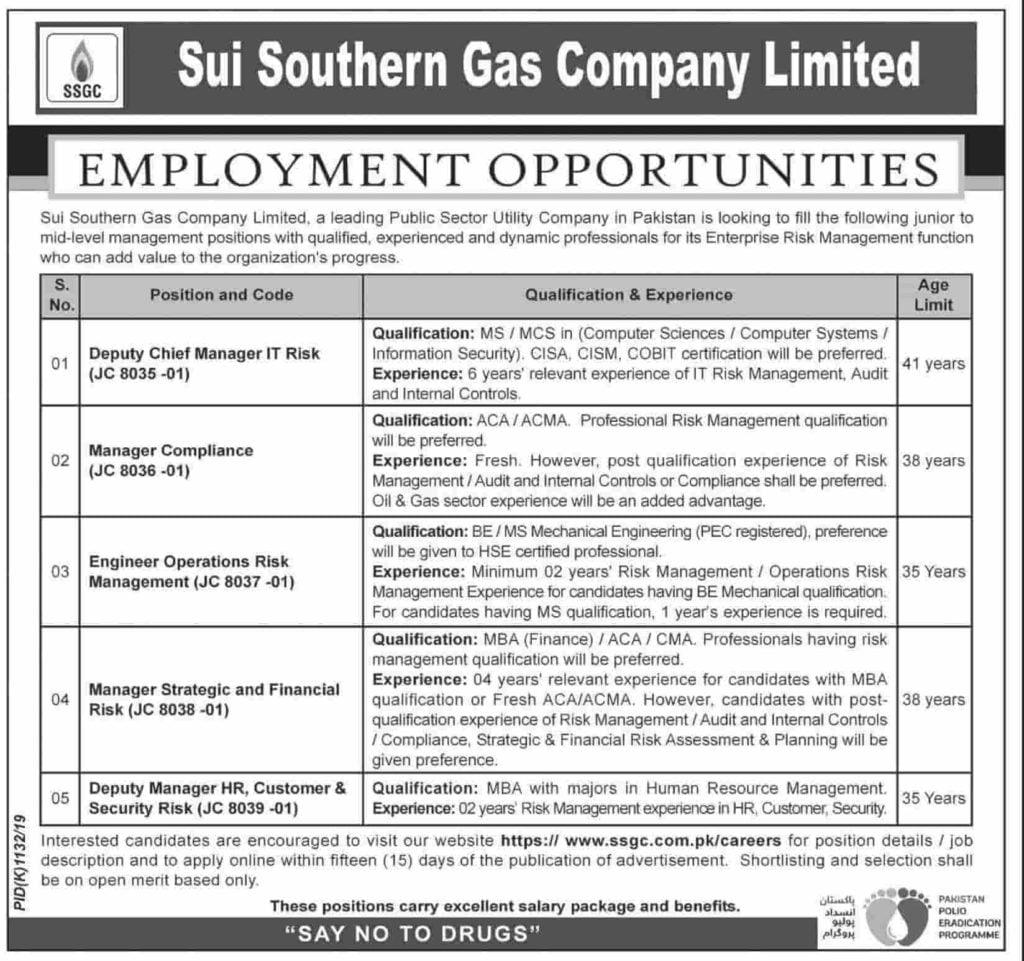 Sui Southern Gas Company Limited SSGC Jobs October 2019 Apply Online Latest Advertisement