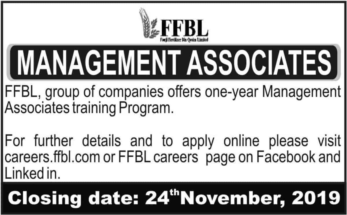 Fauji Fertilizer Bin Qasim Limited FFBL Jobs Management Associates Program November 2019 NTS Latest Advertisement