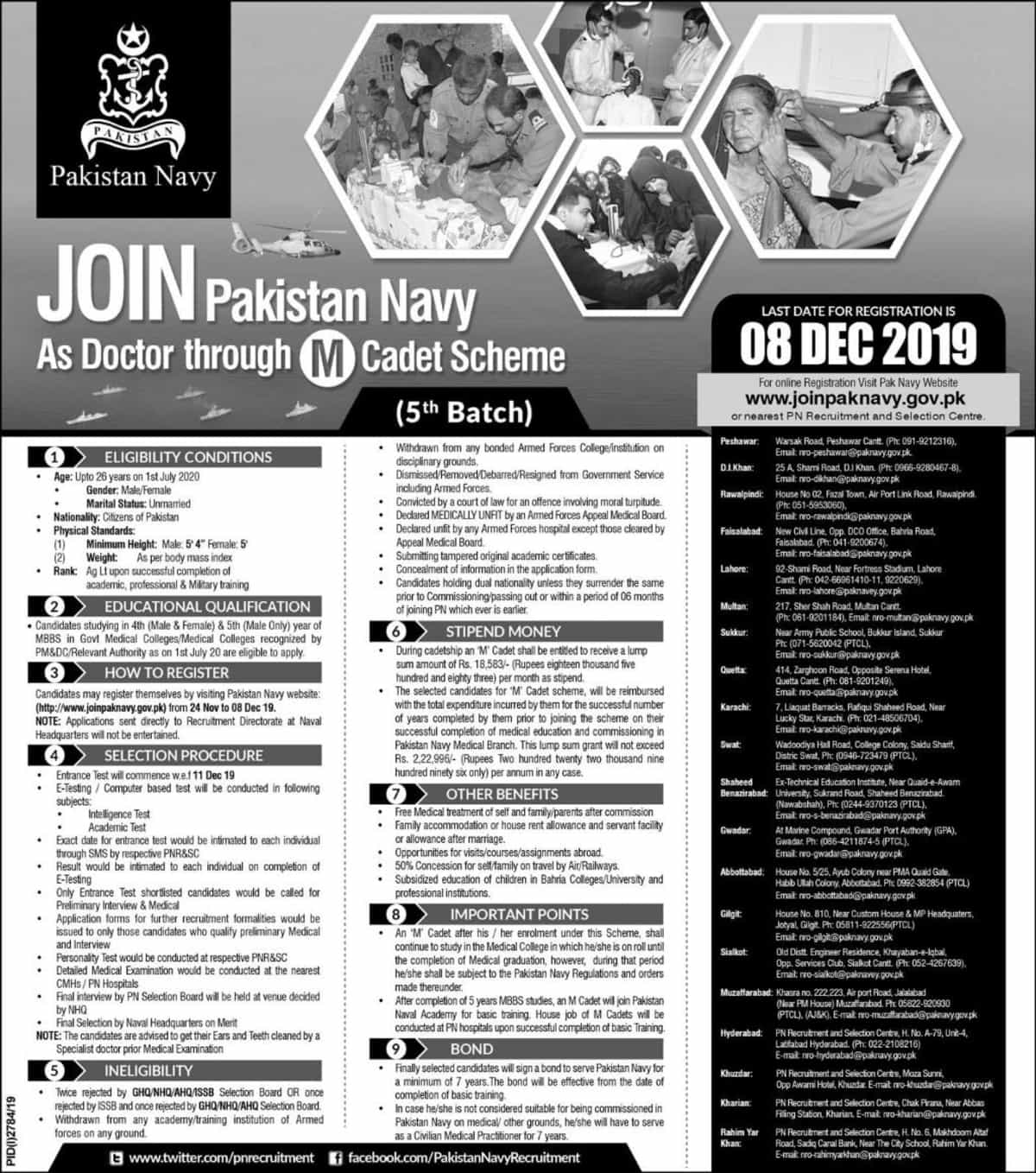 Join Pakistan Navy Jobs 2019 as Doctor through M Cadet Scheme 5th Batch Latest Advertisement Online Registration