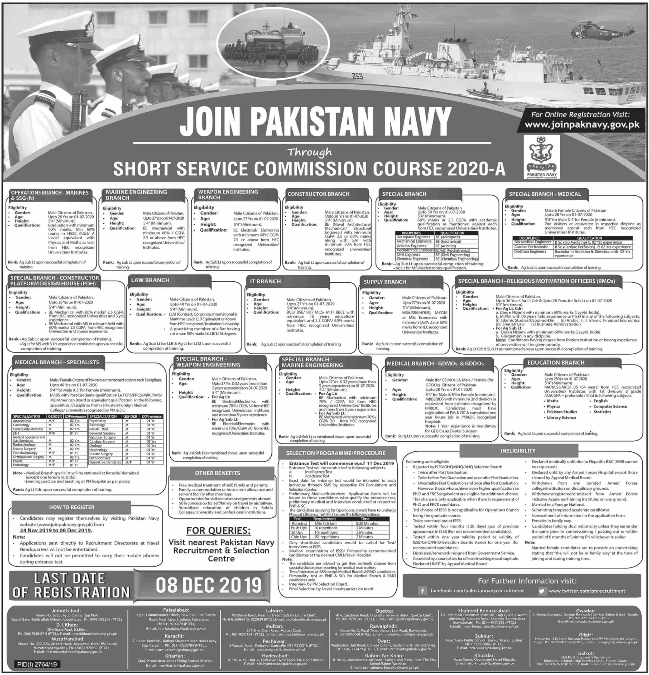 Join Pakistan Navy Jobs 2019 through Short Service Commission Course SSC 2020 A Latest Advertisement Online Registration