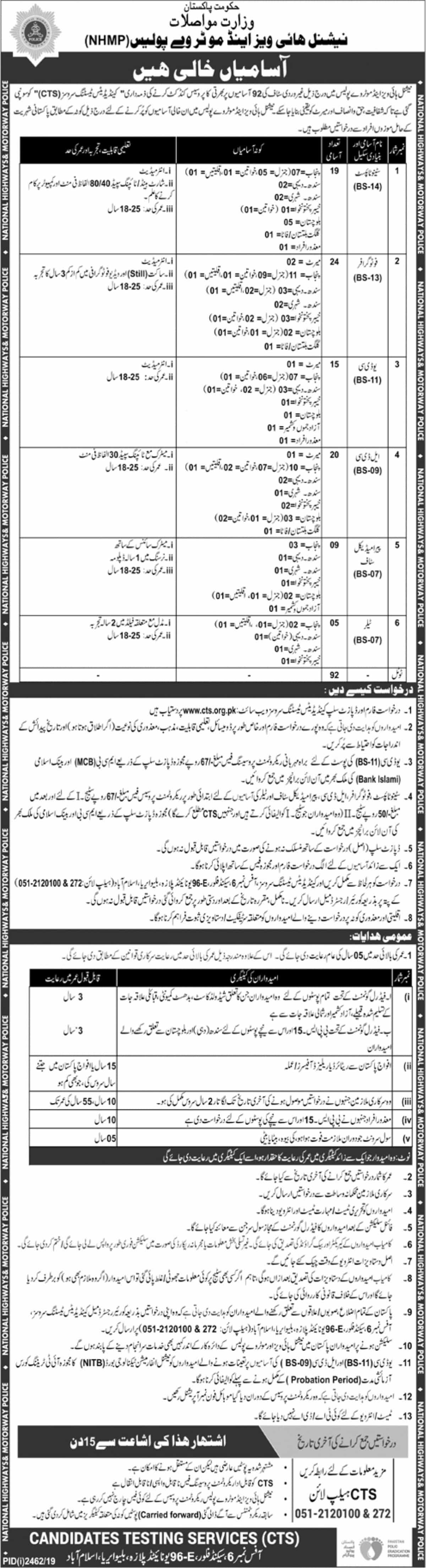 National Highways & Motorway Police NHMP Jobs November 2019 CTS