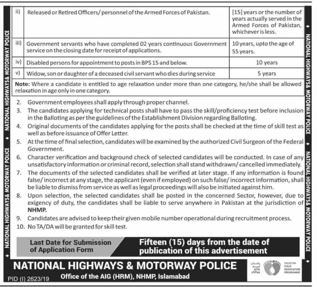 National Highways and Motorway Police NHMP Jobs November 2019 Ministry of Communications Federal Government of Pakistan 2