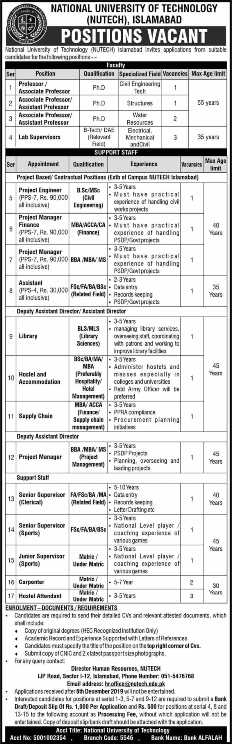 National University of Technology NUTECH Islamabad Jobs 2019 Latest Advertisement