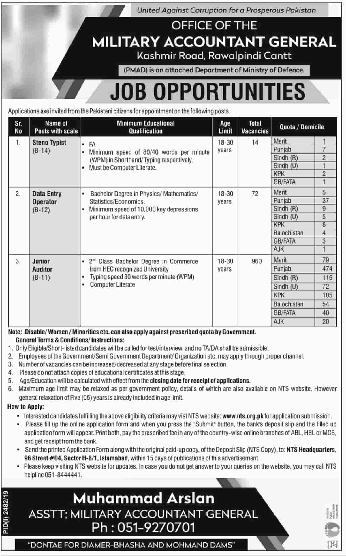 Office of the Military Accountant General Jobs November 2019 NTS Apply Online