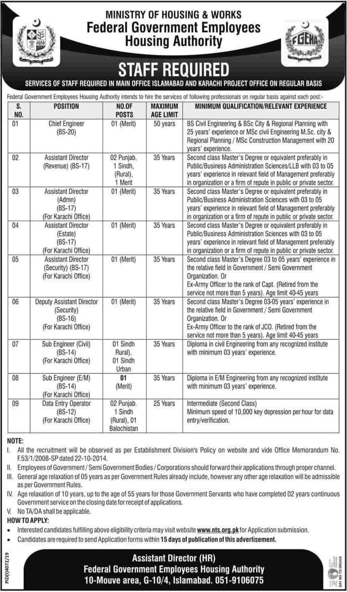 Federal Government Employees Housing Authority Jobs 2020 NTS