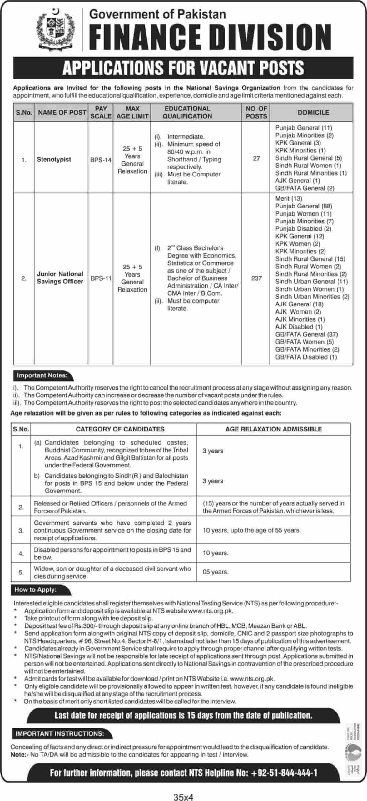 Government of Pakistan Ministry of Finance Division Jobs 2020 NTS