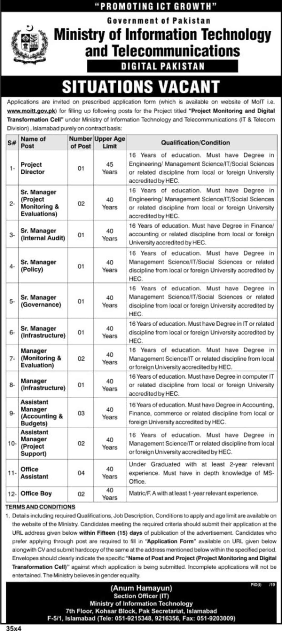 Ministry of Information Technology and Telecommunication Jobs 2020