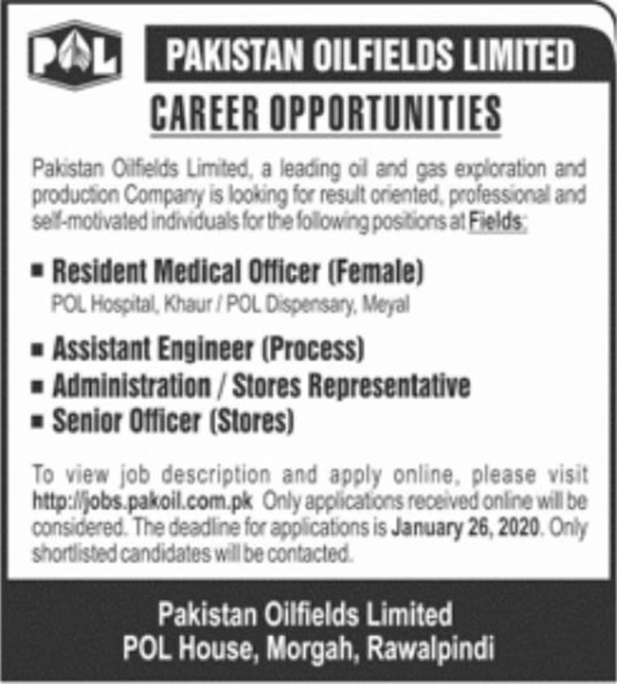 Pakistan Oilfields Limited POL Jobs January 2020 Apply Online