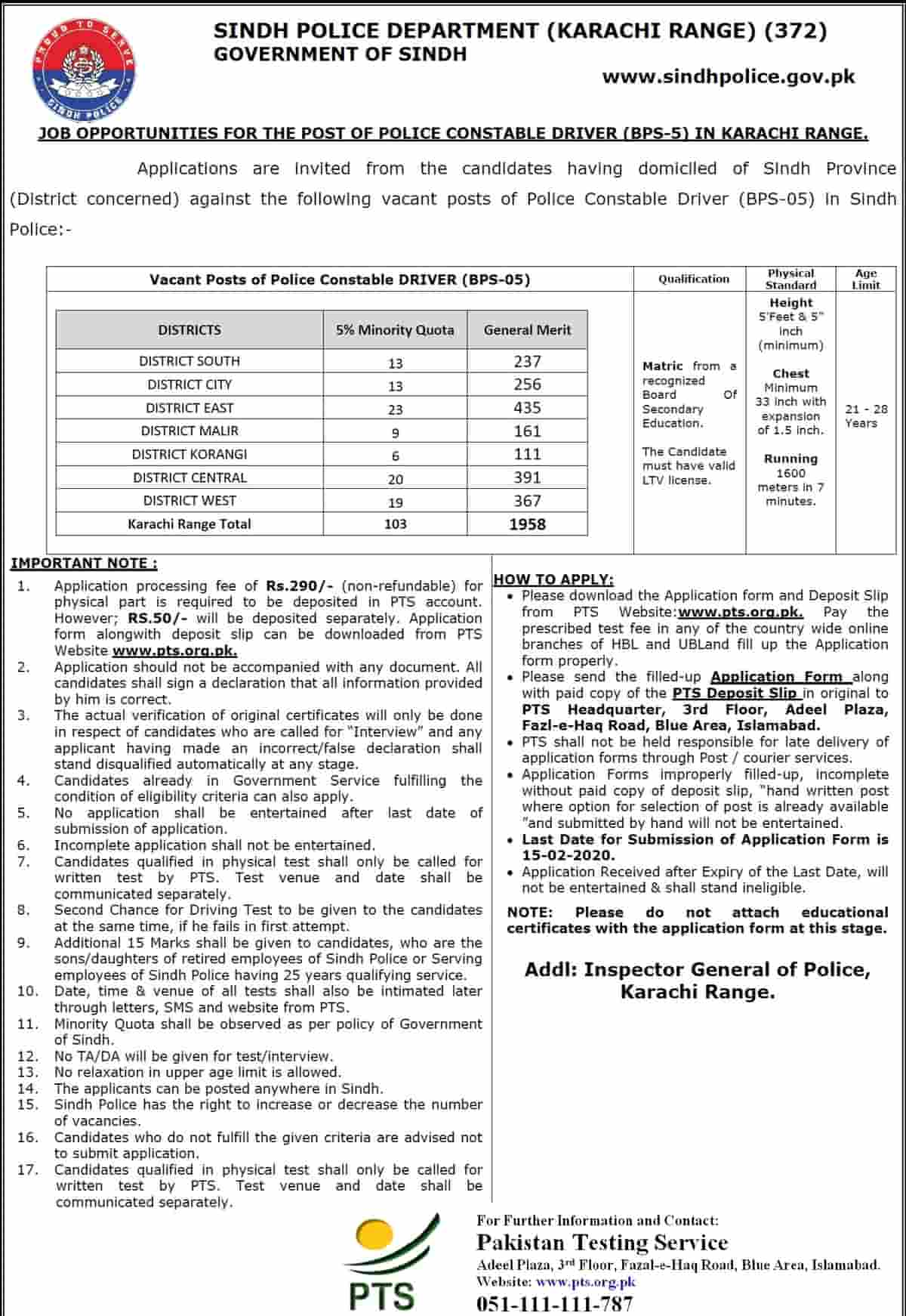 Sindh Police Department Constable Jobs 2020 Application Form PTS 2