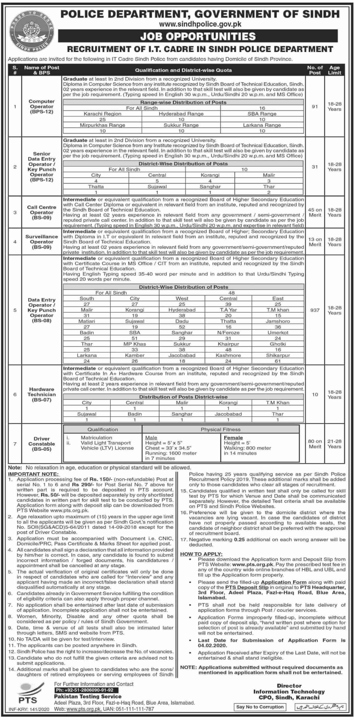 Sindh Police IT Department Jobs January 2020 PTS