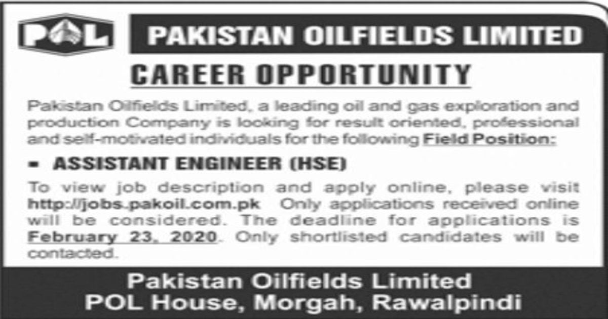 Featured Image Pakistan Oilfields Limited POL Assistant Engineer Jobs 2020 Apply Online