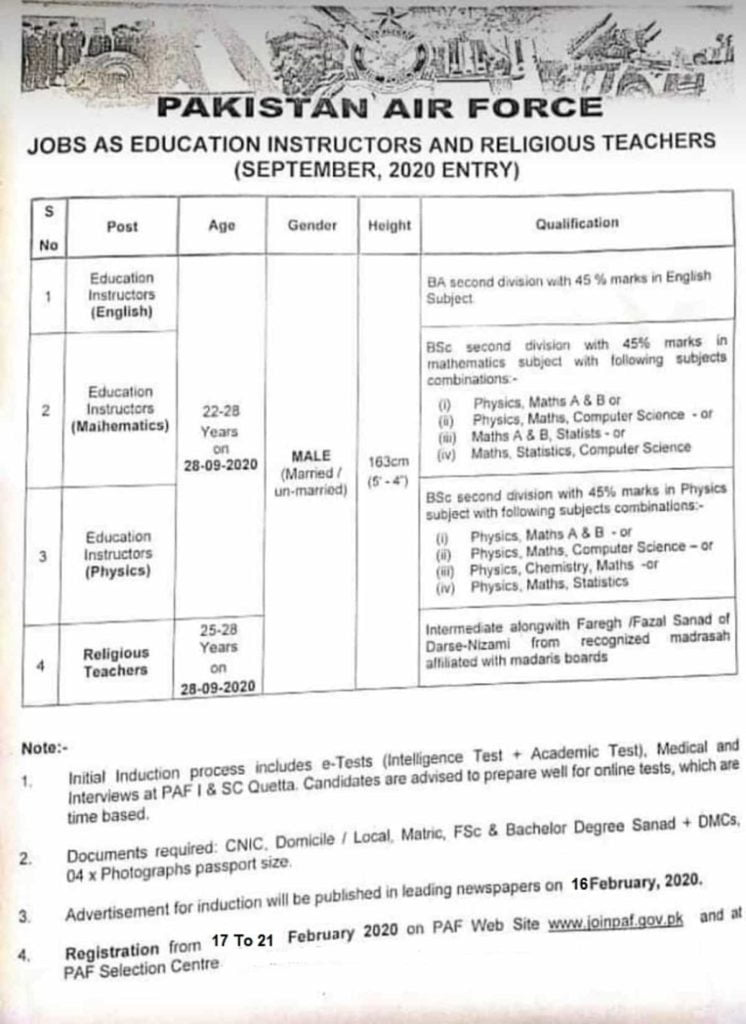 Join Pakistan Air Force PAF as Education Instructor Jobs February 2020