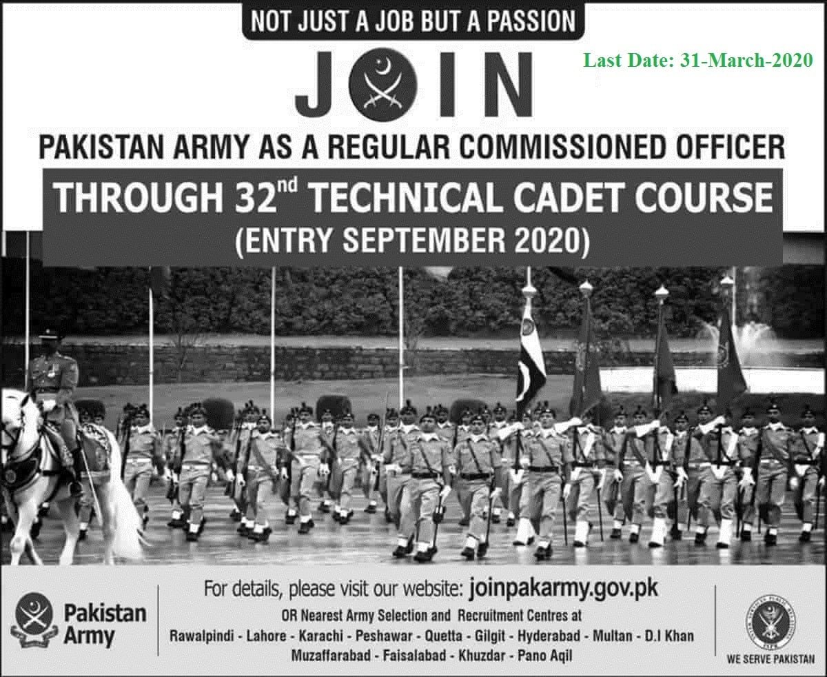 Join Pakistan Army Jobs 2020 as Officer 32 Technical Cadet Course TCC Updated