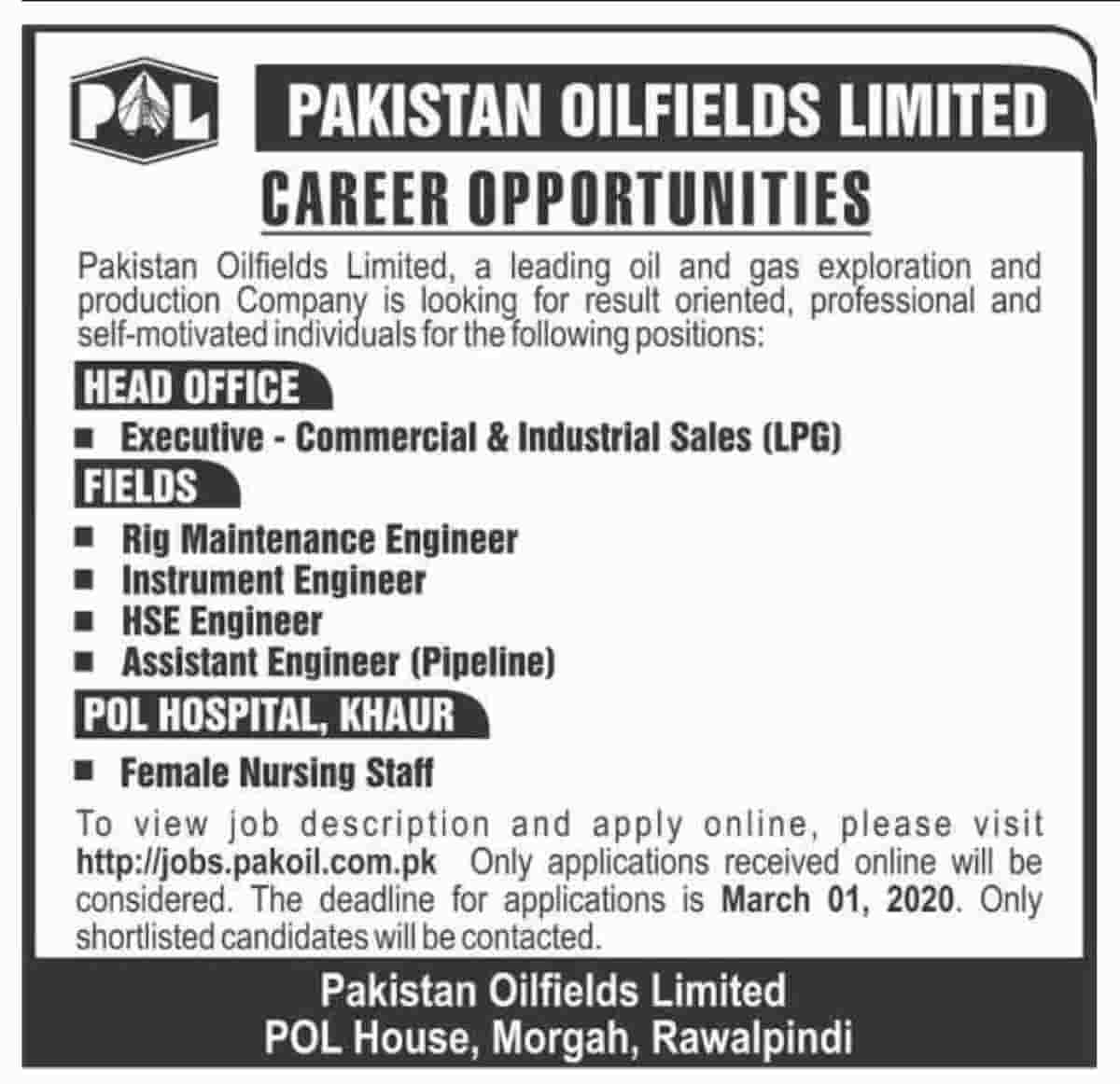 Pakistan Oilfields Limited POL Jobs 2020 Apply Online Latest