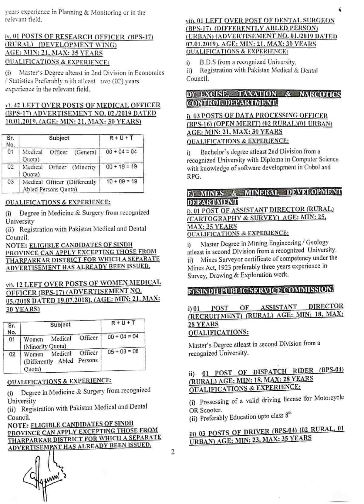 SPSC Jobs Advertisement No 1 2020 Apply Online Latest b