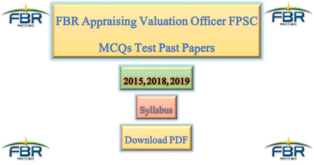 Featured Image FBR Appraising Valuation Officer FPSC MCQs Test Past Papers