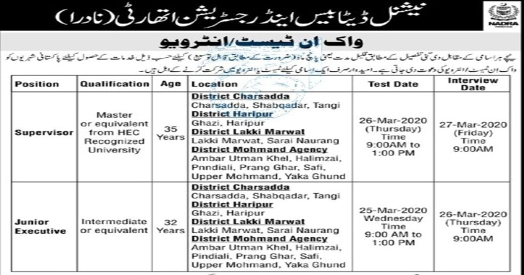 Featured Image NADRA Jobs 2020 Supervisor & Junior Executive Walk in Test / Interview