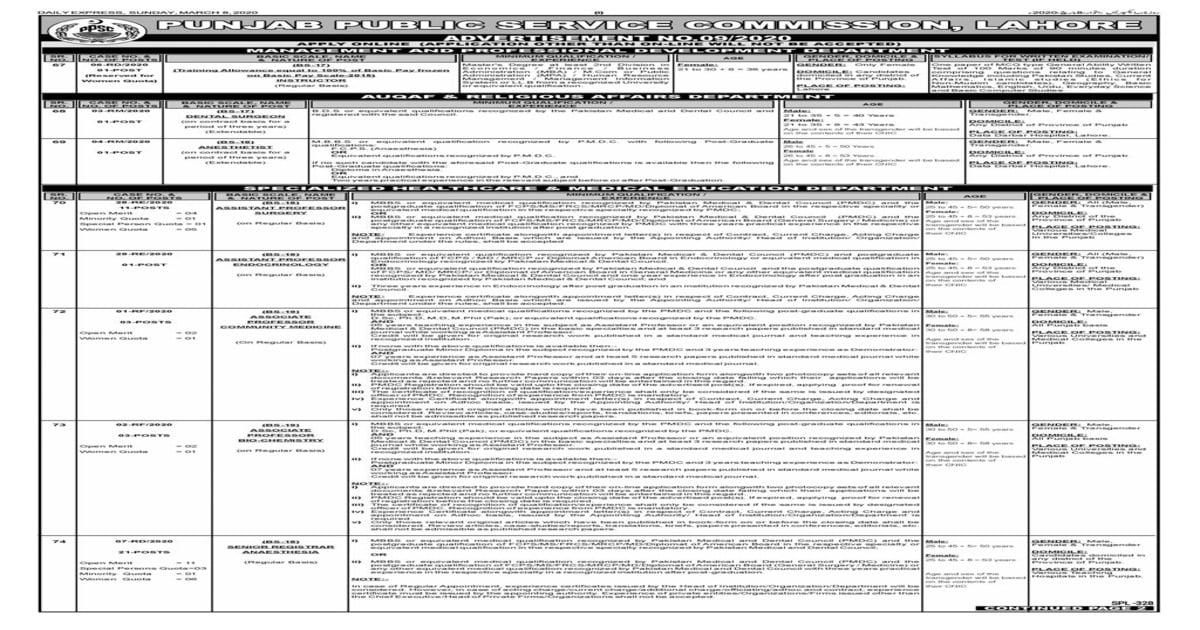 Featured Image PPSC Jobs March 2020 Advertisement No 9 Apply Online Latest
