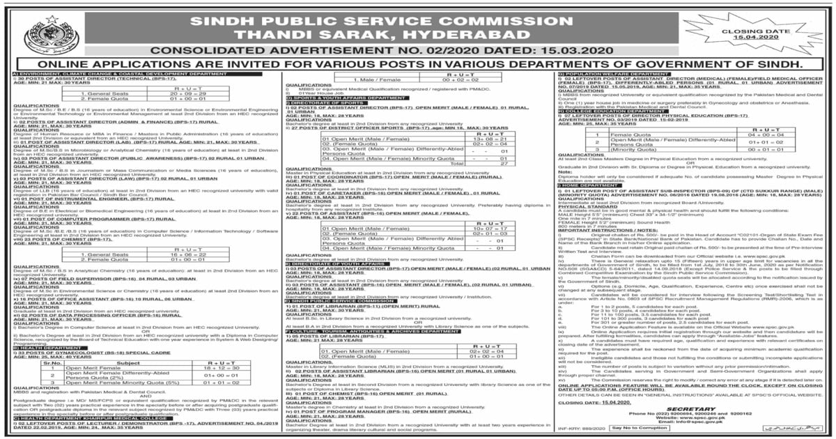 Featured Image Sindh Public Service Commission SPSC Jobs Advertisement No 2 2020 Apply Online Latest