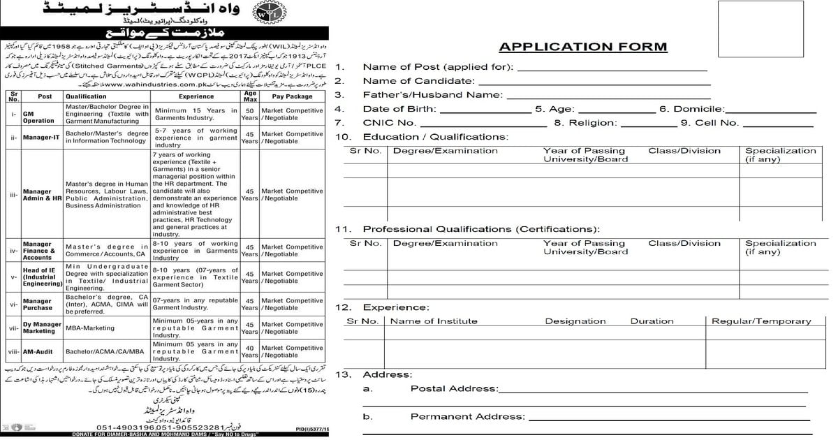 Featured Image Wah Industries Limited Jobs 2020 Application Form Latest