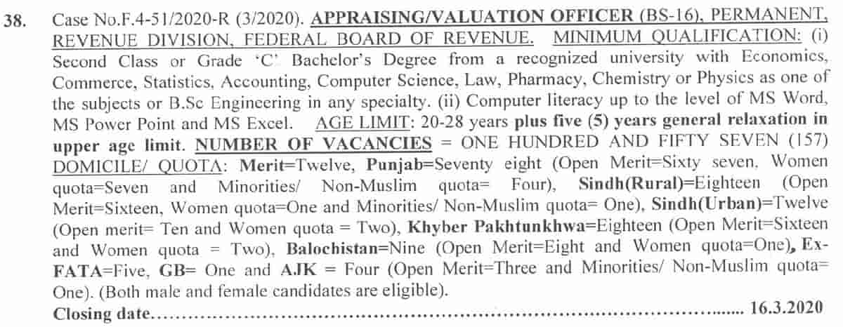 Federal Board of Revenue FBR Jobs 2020 Appraising Valuation Officer