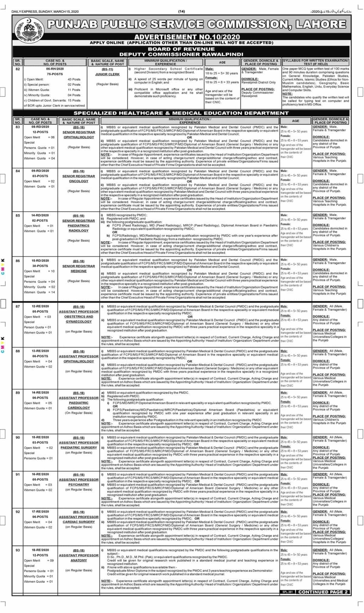 PPSC Jobs 2020 Advertisement No 10 Apply Online Latest 1