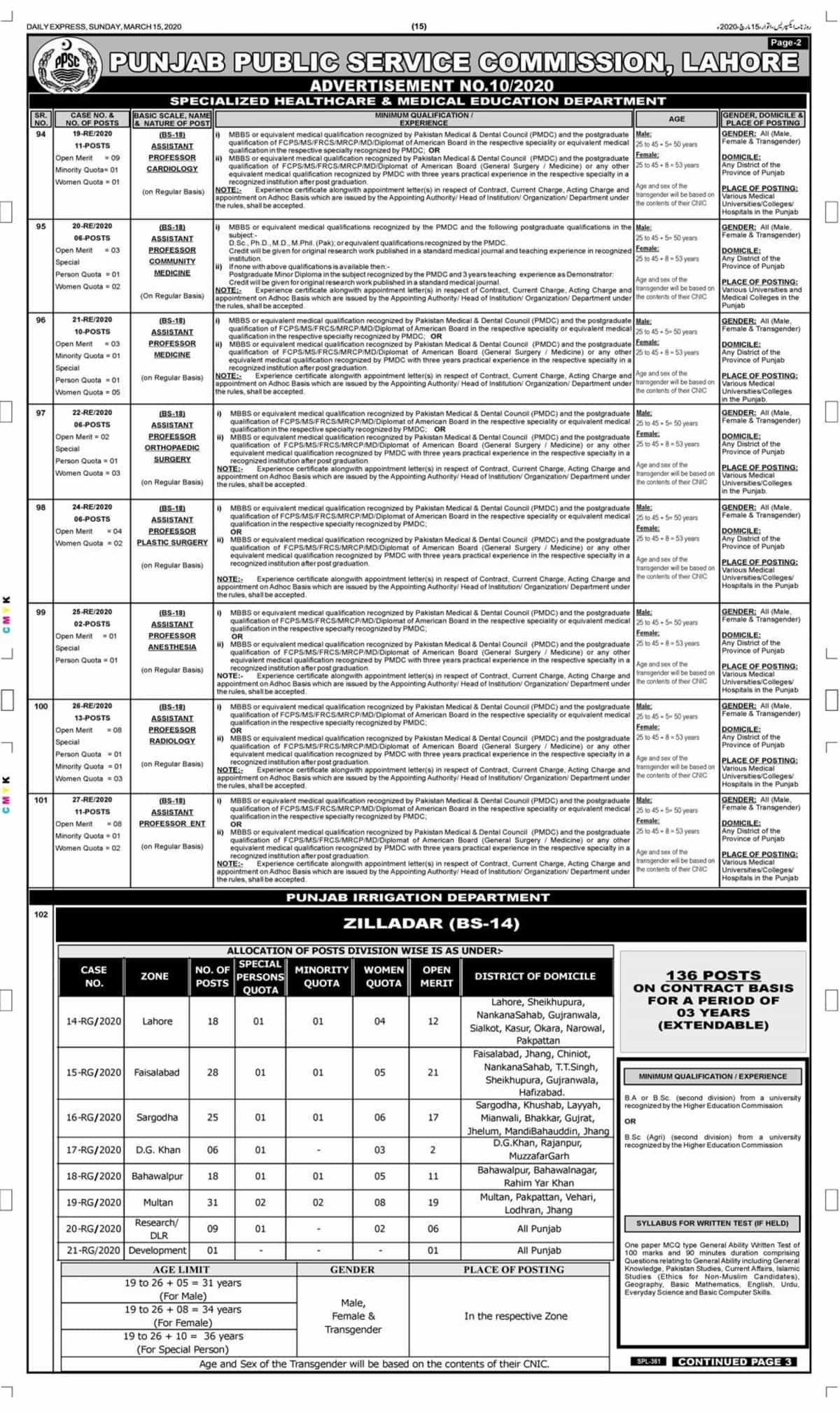 PPSC Jobs 2020 Advertisement No 10 Apply Online Latest 2